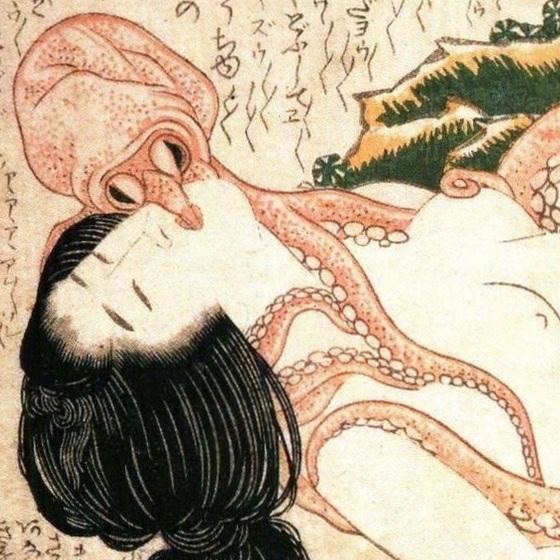 «Le rêve de la femme du pêcheur» Hokusai, 1814. Détail.